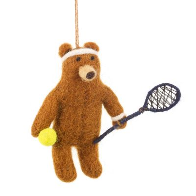 Handmade Felt Tennis Bear  Biodegradable Hanging Decoration