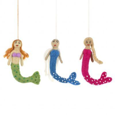Handmade Felt The Mermaids Fair trade Hanging Decoration