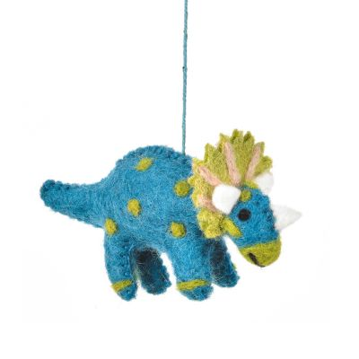 Handmade Felt Tessa Triceratops Hanging Dinosaur Decoration