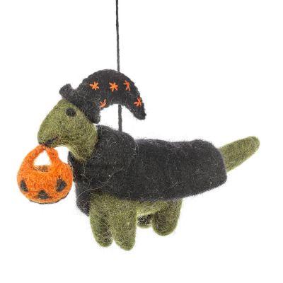 Handmade Felt Trick or Treat Dinosaur Hanging Decoration