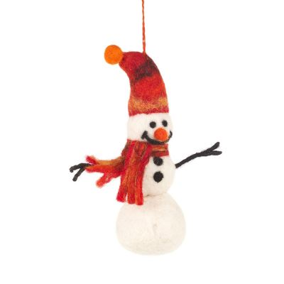 Handmade Felt Trinny Snowman Biodegradable Hanging Decoration