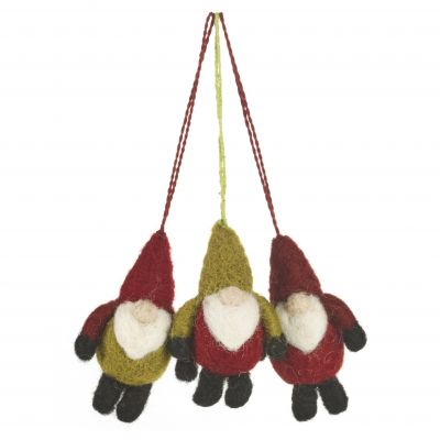Handmade Felt Trio of Santa Gnomes (Bag of 3) Hanging Christmas Decoration