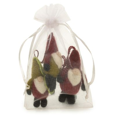 Handmade Felt Trio of Santa Gnomes (Bag of 3) Hanging Christmas Decoration