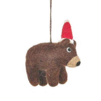 Handmade Felt Wally the Festive Bear Hanging Christmas Decoration