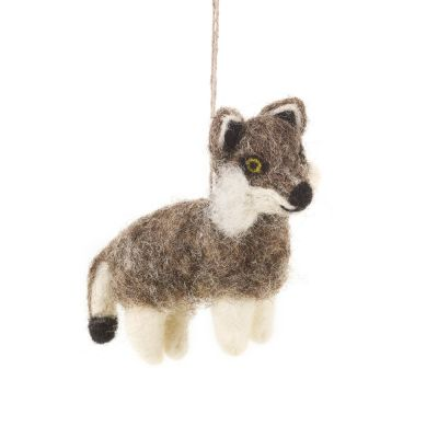 Handmade Felt Will Wolf  Biodegradable Hanging Decoration