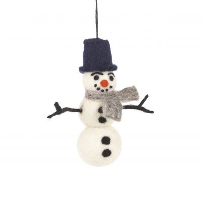 Handmade Felt William Snowman Biodegradable Hanging Decoration