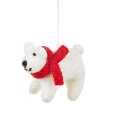 Handmade Felt Winter Polar Bear Biodegradable Hanging Decoration