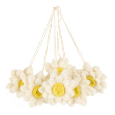 Handmade Hanging Daisies (Set of 6) Felt Easter Decorations