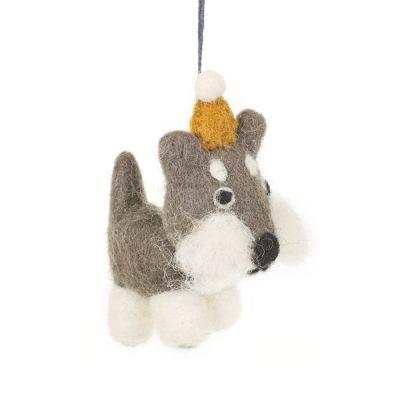 Handmade Hanging Biodergadable Hugo the Dog Felt Decoration