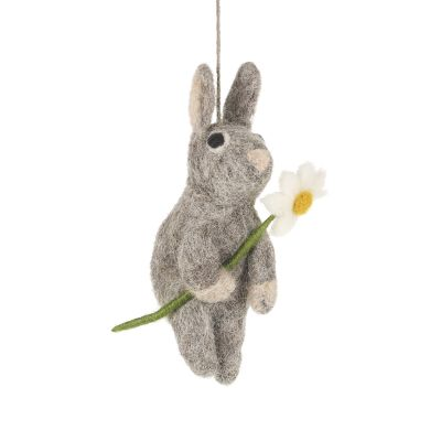 Handmade Hanging Daisy Bunny Felt Easter Decoration