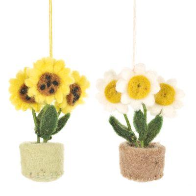 Handmade Hanging Fair trade Felt Pot o' Flowers Decoration