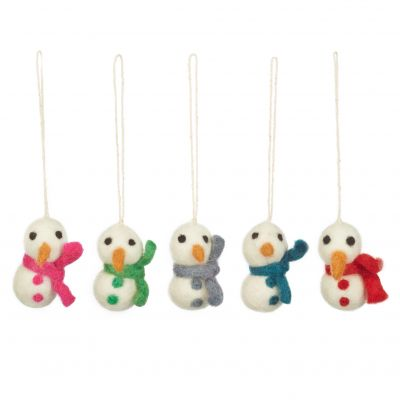 Handmade Felt Boiodegradable Mini Snowmen (Set of 5) Hanging Christmas Decoration