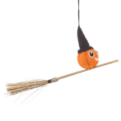Handmade Hanging Felt Flying Pumpkin Biodegradable Halloween Decoration