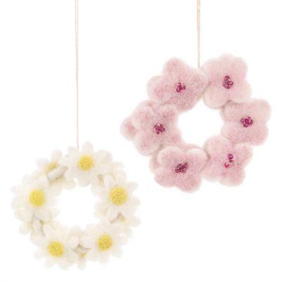 Handmade Hanging Felt Mini Floral Wreath Easter Decoration