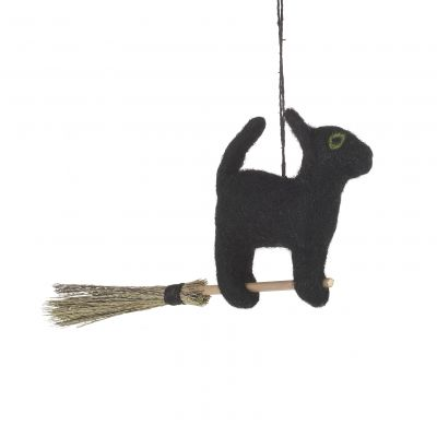 Handmade Hanging Flying Black Cat Biodegradable Halloween Decoration