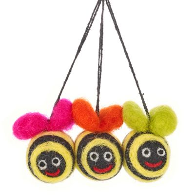 Handmade Hanging Mini Groovy Bumblebees (Set of 3) Felt Easter Decorations