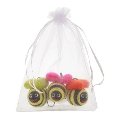 Handmade Hanging Mini Groovy Bumblebees (Bag of 3) Felt Easter Decorations