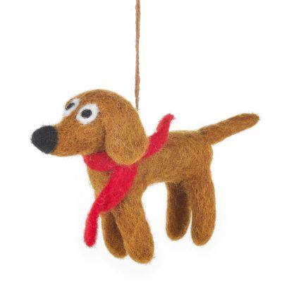 Handmade Hanging Needle Felt Jasper the Dog Biodergadable Decoration