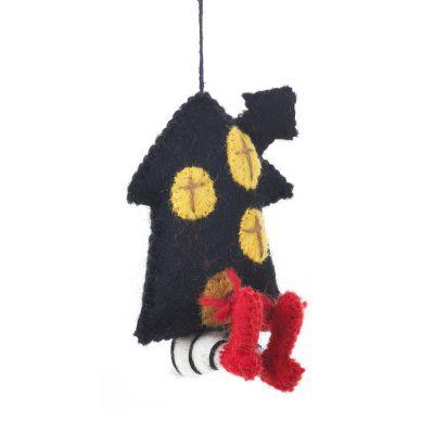 Handmade Hanging Witch's House Needle Felt Halloween Decoration