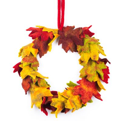 Handmade Home Decor Autumnal Fair trade Felt Wreath