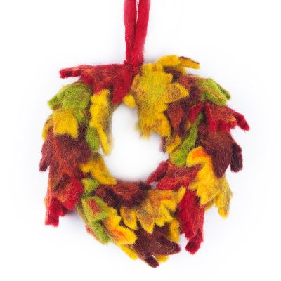 Handmade Home Décor Mini Autumnal Fair trade Felt Wreath