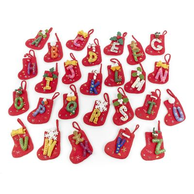 Handmade Felt Funky Mini Alphabet Stockings