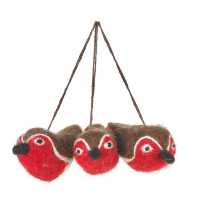 Baby Red Robins (Bag of 3) Hanging Biodegradable Christmas Tree Decoration