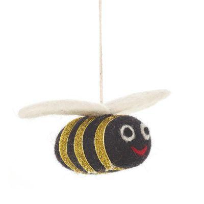 Handmade Needle Felt Biodegradable Jazzy Bee Hanging Decoration