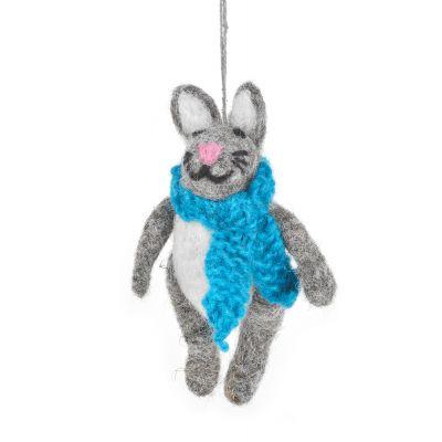 Handmade Needle Felt Rabbit with Scarf Hanging Decoration