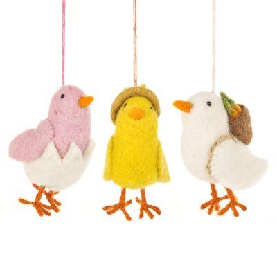 Handmade Needle Felt Chirpy Chicks Hanigng Easter Decoration