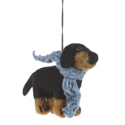Handmade Needle Felt Dachshund Dog Hanging Biodegradable Decoration