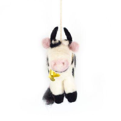 Handmade Needle Felt Daisy the Cow Fair trade Hanging Decoration