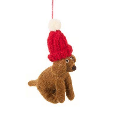 Handmade Needle Felt Dappy the Dog Hanging Biodegradable Decoration