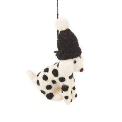 Handmade Needle Felt Dotty the Dog Hanging Biodegradable Decoration