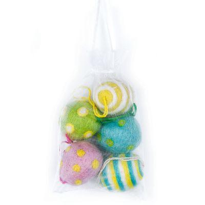 Handmade Needle Felt Easter Eggs (Bag of 5) Hanging Easter Decoration