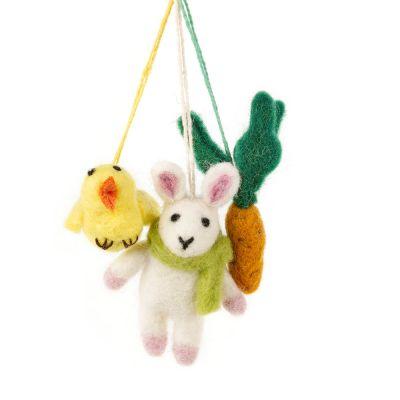Handmade Needle Felt Easter Trio Hanging Decorations