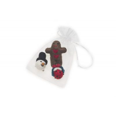 Handmade Needle Felted Festive Christmas Badges