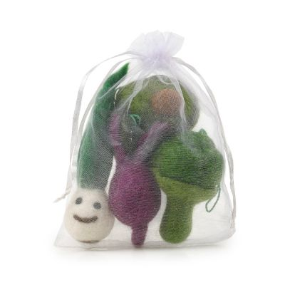 Handmade Needle Felt Glorious Greens Vegetable hanging Biodegradable Decorations