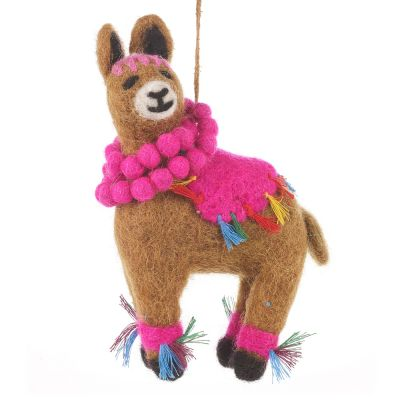 Handmade Needle Felt Llama Fiesta Hanging Biodegradable Decoration