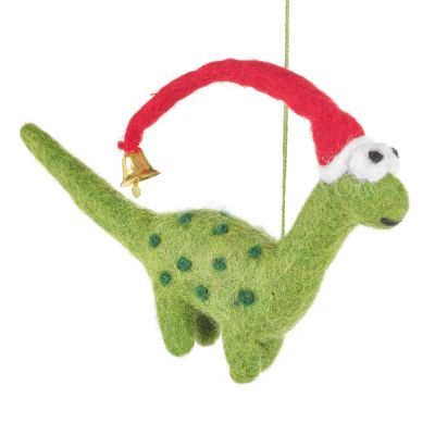 Handmade Biodegradable Felt Hanging Lanky  Christmas Dinosaur Tree Decoration
