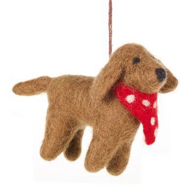 Handmade Needle Felt Hanging Pip the Dog Decoration