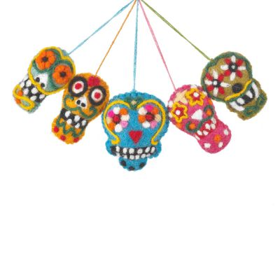 Handmade Sugar Skulls (Set of 5) Day of the Dead Hanging Halloween Decoration