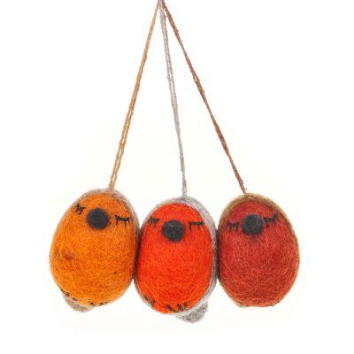 Handmade Whimsical Winter Robins (Set of 3) Hanging Biodegradable Christmas Tree Decorations