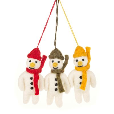 Hanging Felt Mini Mr. Snowmen (Set of 3) Handmade Christmas Decoration