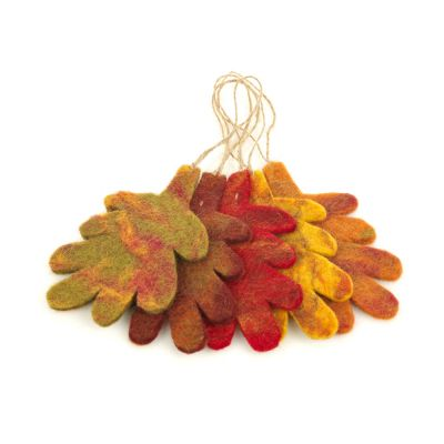 Handmade Felt Oak Leaves (Set of 5) Hanging  Autumnal Decorations