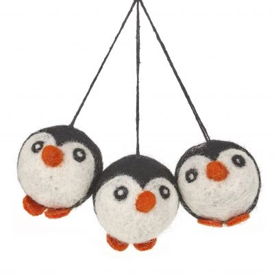 Hanging Felt Penguin Baubles Handmade Felt Biodegradable Decoration