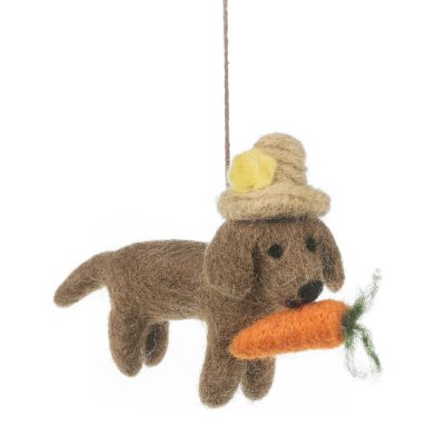 Handmade Felt Hazel the Dog Hanging Easter Decoration