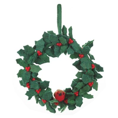 Handmade Felt Fair trade Holly Wreath with Robins Christmas Décor