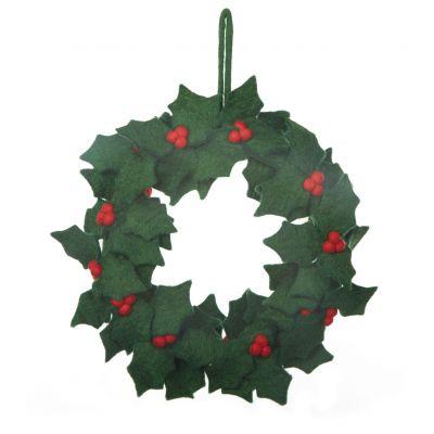 Handmade Felt Fair trade Holly Wreath Christmas Décor