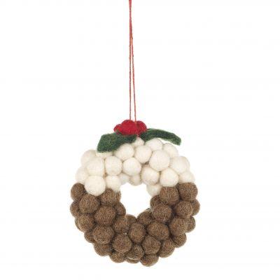 Handmade Felt Mini Christmas Pudding Wreath Hanging Decoration